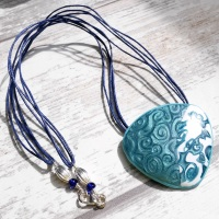 Blue and White Necklace with Navy Cord