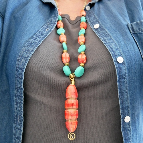 hot coral and turquoise necklace