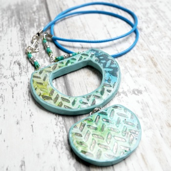 Long Pendant, Green and Blue Reversible Necklace