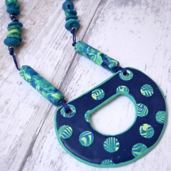 Double Sided Pendant, Navy and Green Reversible Necklace