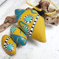 Blue and Yellow Modern Necklace, Longer Necklace