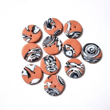 Handmade Buttons, Terracotta Buttons