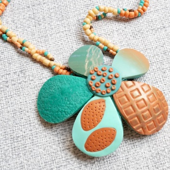 Large Flower Necklace, Blue and Terracotta Necklace