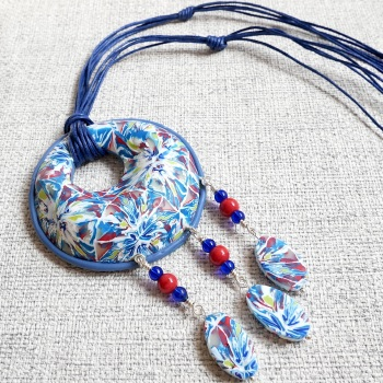 Long Pendant Necklace, Blue and Red Boho Necklace