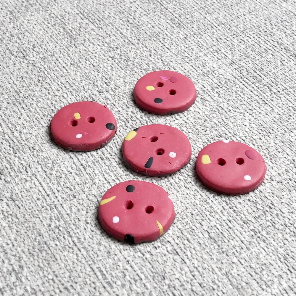 Modern Coral Buttons, Dotty Buttons