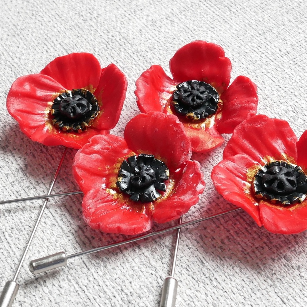 Red Poppy Brooch, Handmade Poppy Pin