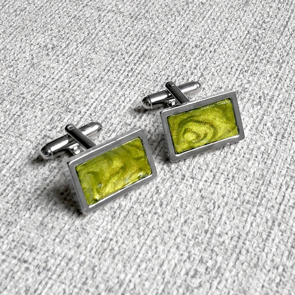 Rhodium Plated, Green Cufflinks