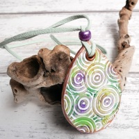Green and Purple Long Reversible Necklace