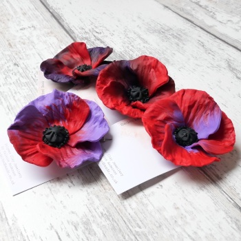 Poppy Brooch, Red and Purple Flower Brooch