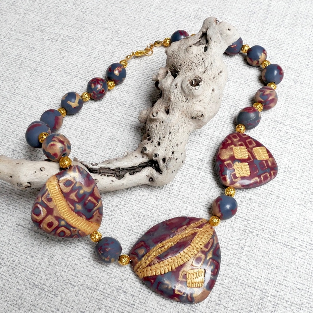 Maroon and Gold Beaded Necklace
