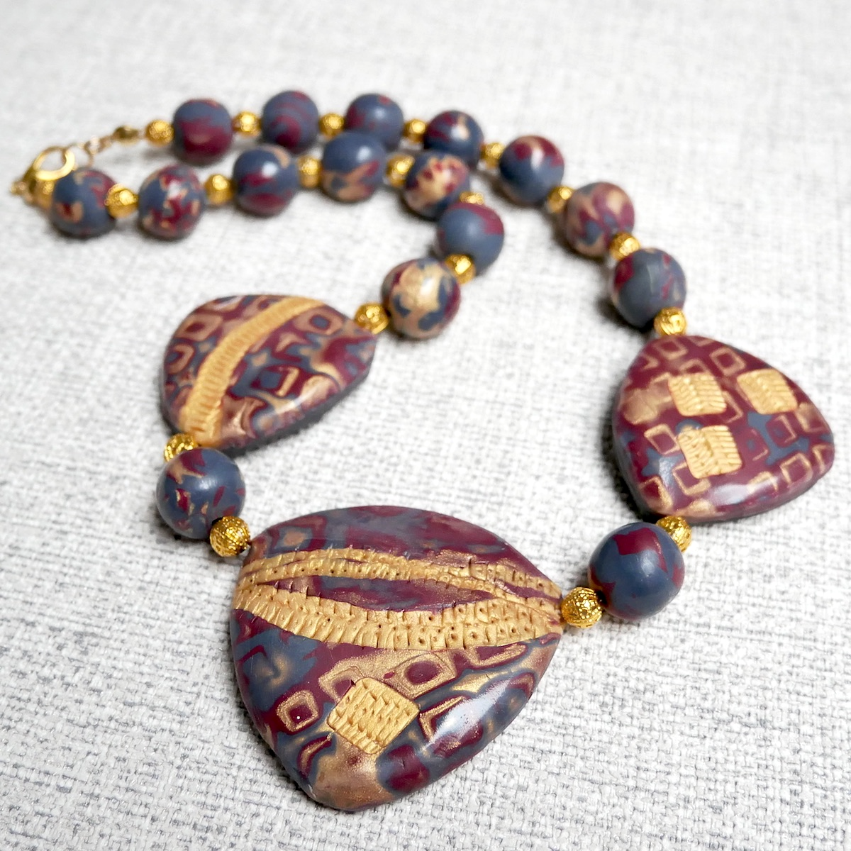 Maroon and Gold Necklace