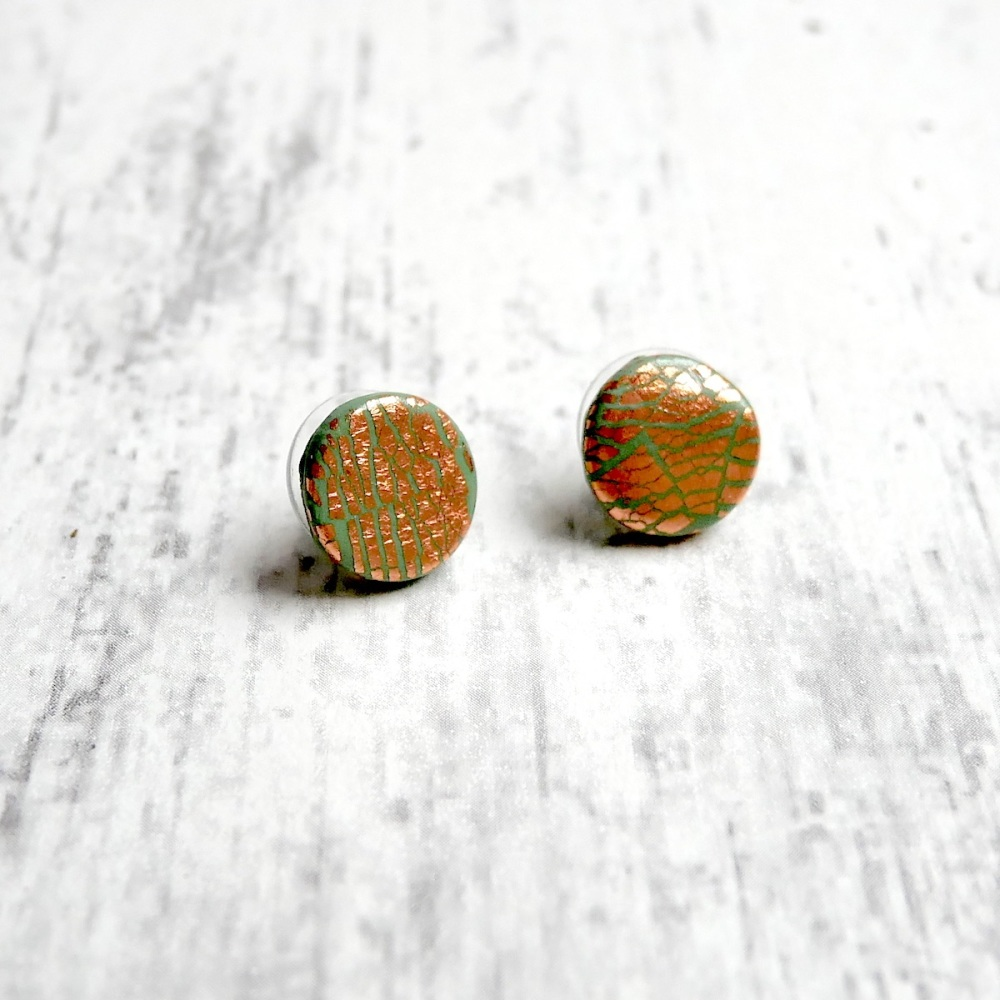 Green and Copper Earrings, Sterling Silver Studs