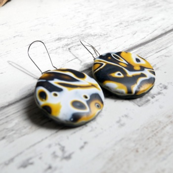Retro Mustard Yellow Earrings, Polymer Clay Jewellery