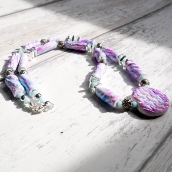 Beaded Blue and Lilac Necklace