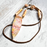 Long Boho Necklace, Bird Pendant