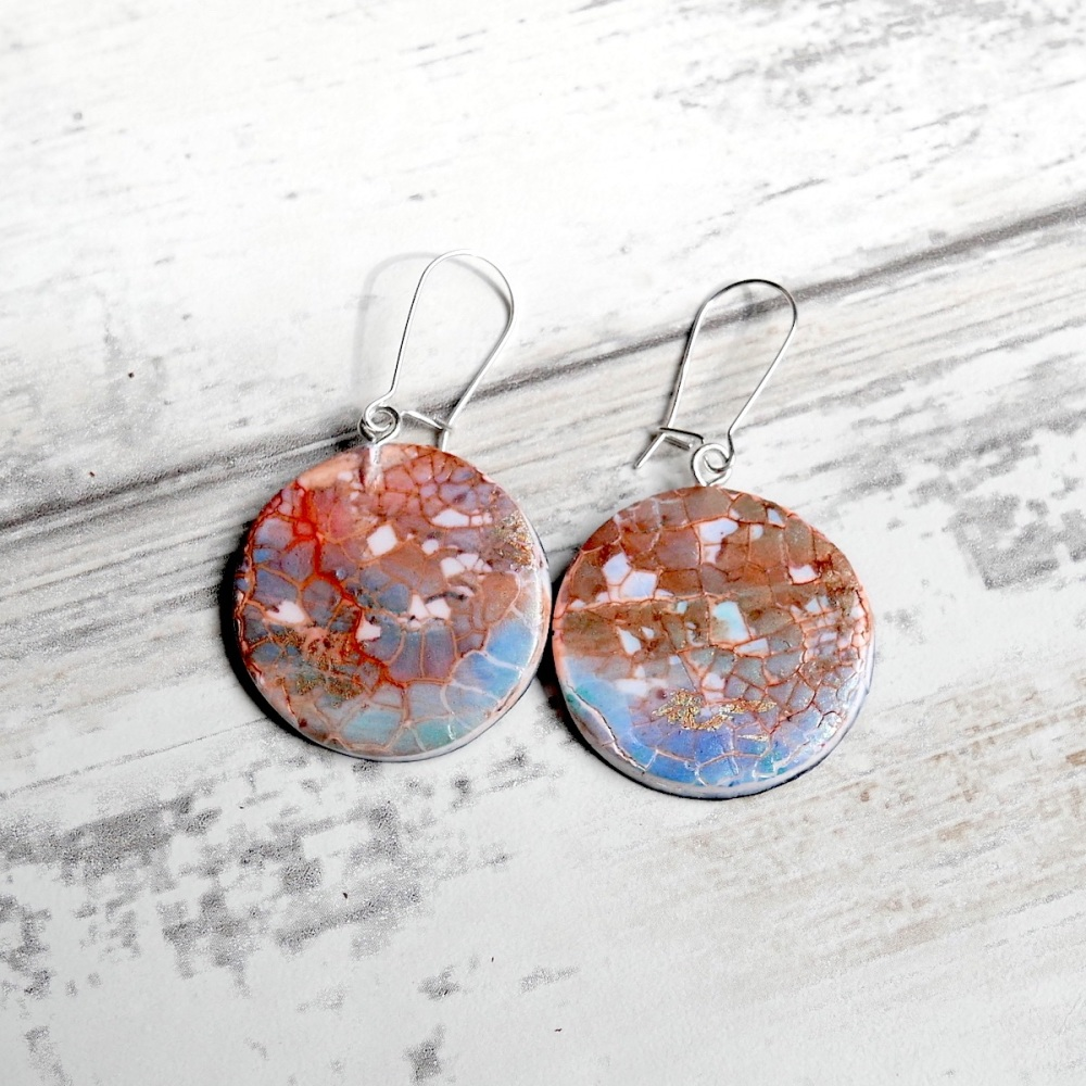 Blue and Copper Earrings