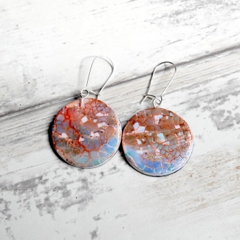 Blue and Copper  Crackle Earrings with Round Drops