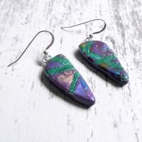 Purple and Green Dainty Earrings