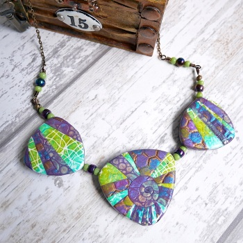 Green and Purple Statement Necklace, Handmade Jewellery