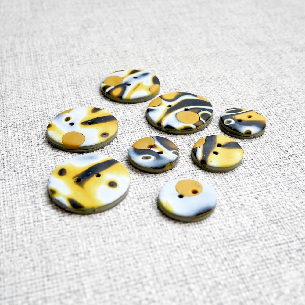 Mustard Black and White Buttons