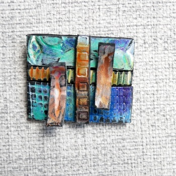 Blue and Copper Brooch