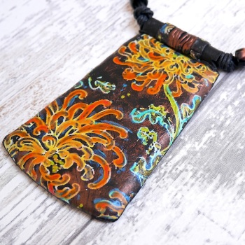 Copper Orange and Blue Floral Necklace