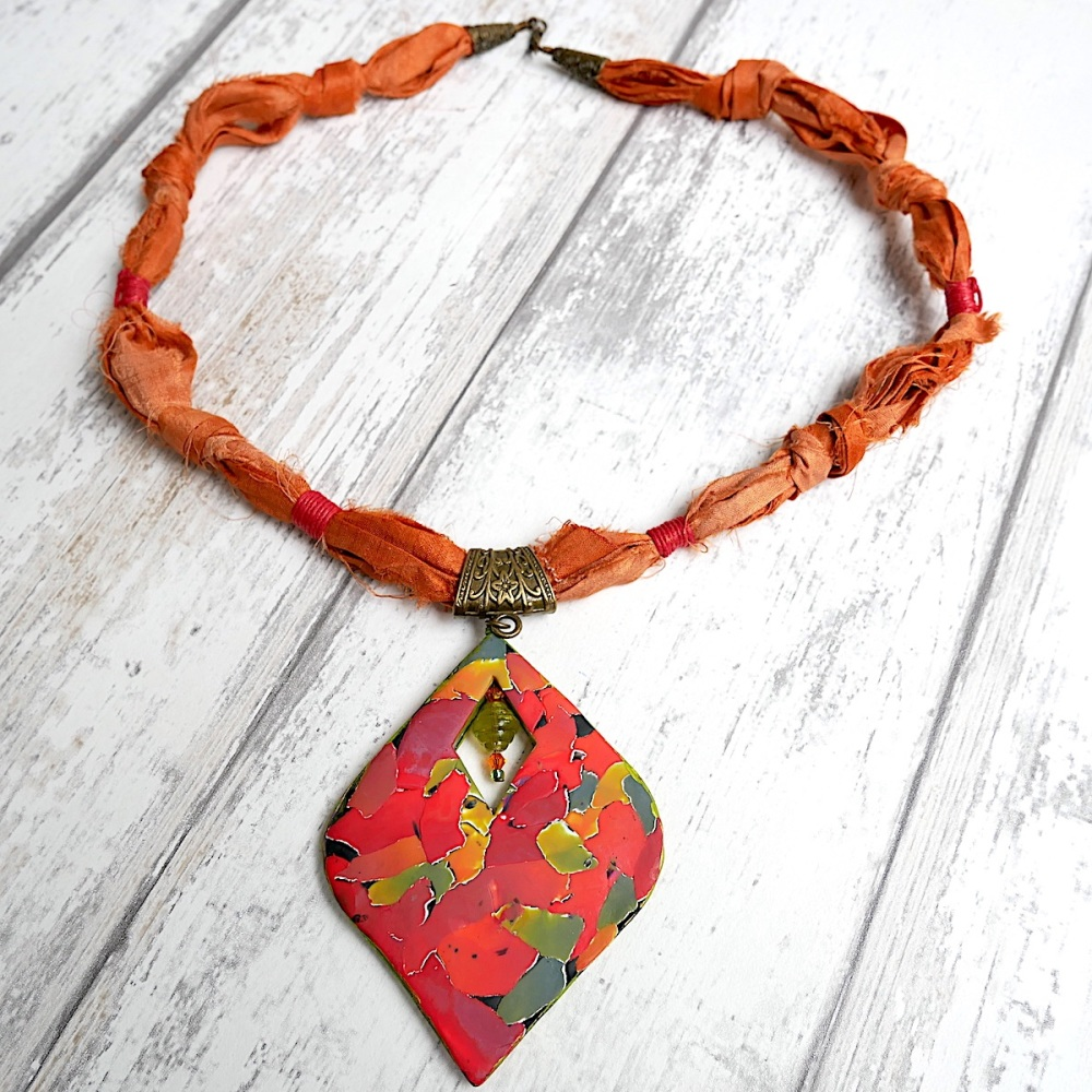 Sari Silk Necklace with Autumn Coloured Pendant