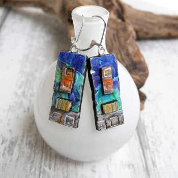 Blue and Copper Long Earrings