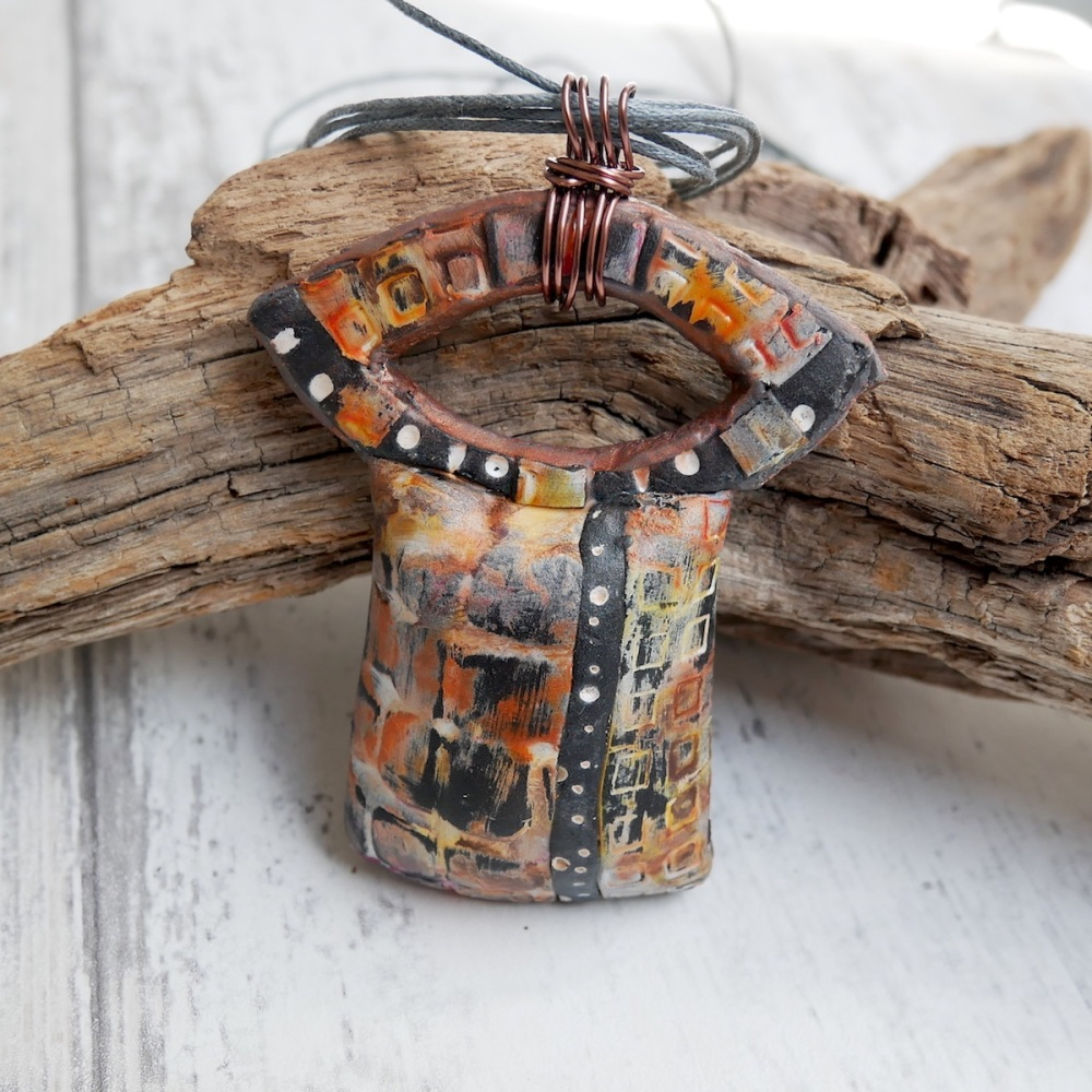 Copper and Black Rustic Necklace