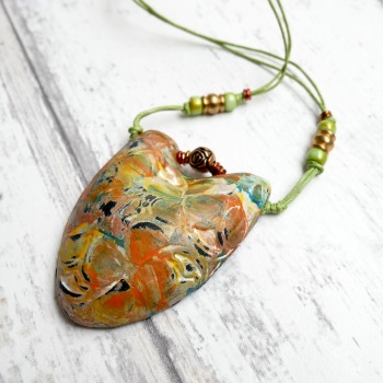 Boho Green and Copper Pendant Necklace