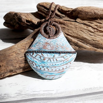 Rustic Blue and Copper Necklace