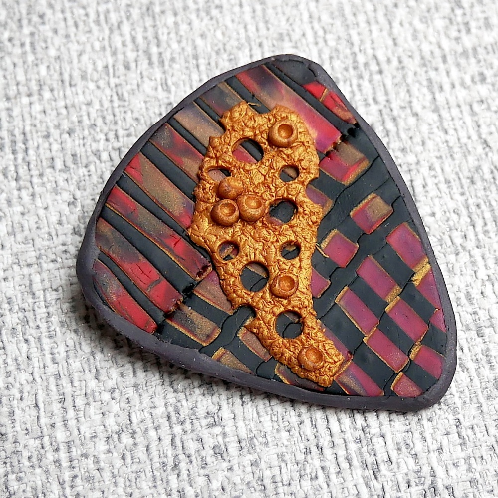 Red and Gold Handmade Brooch