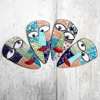 Quirky Face Brooches- Art Jewellery