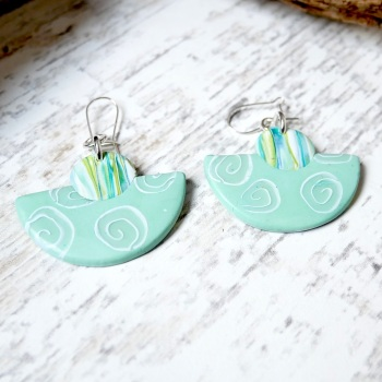 Half Circle Turquoise Earrings