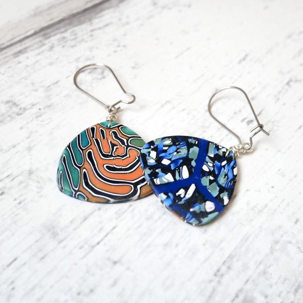 Blue Green and Orange Reversible Earrings