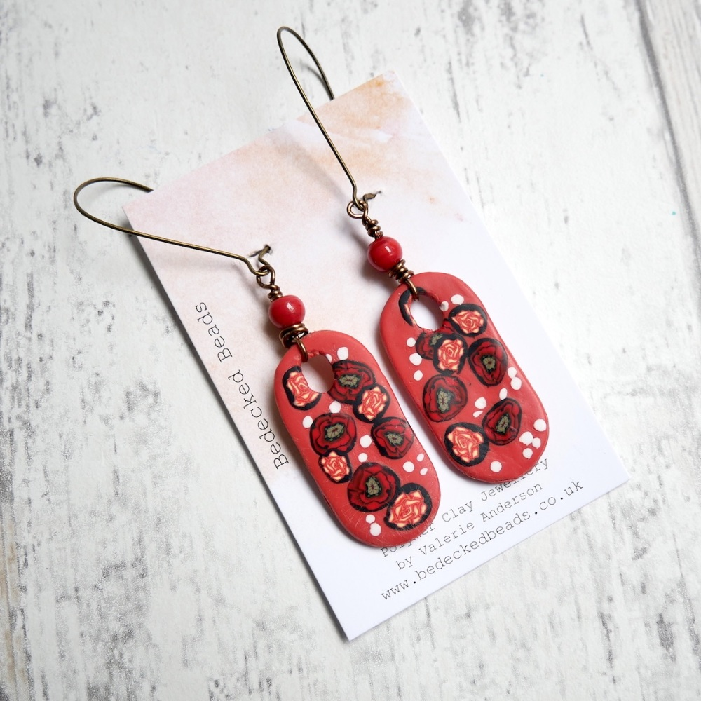 Floral Earrings-Poppy and Rose Earrings
