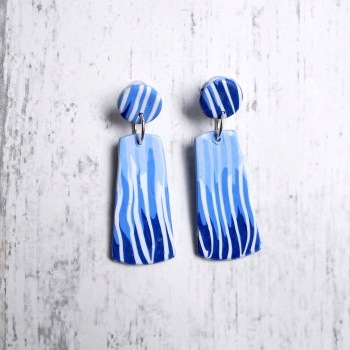 Stripey Blue Earrings, Contemporary Polymer Clay Earrings