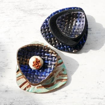Blue Green Modern Brooch, Scarf Pin, Artisan Jewellery