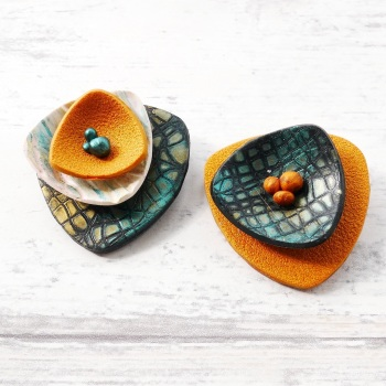 Layered Brooches, Green and Gold Sculptural Brooch