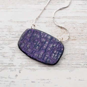 Purple and Silver Pendant on Bead Chain Necklace