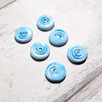 Faux Ceramic Blue Buttons, Polymer Clay Buttons