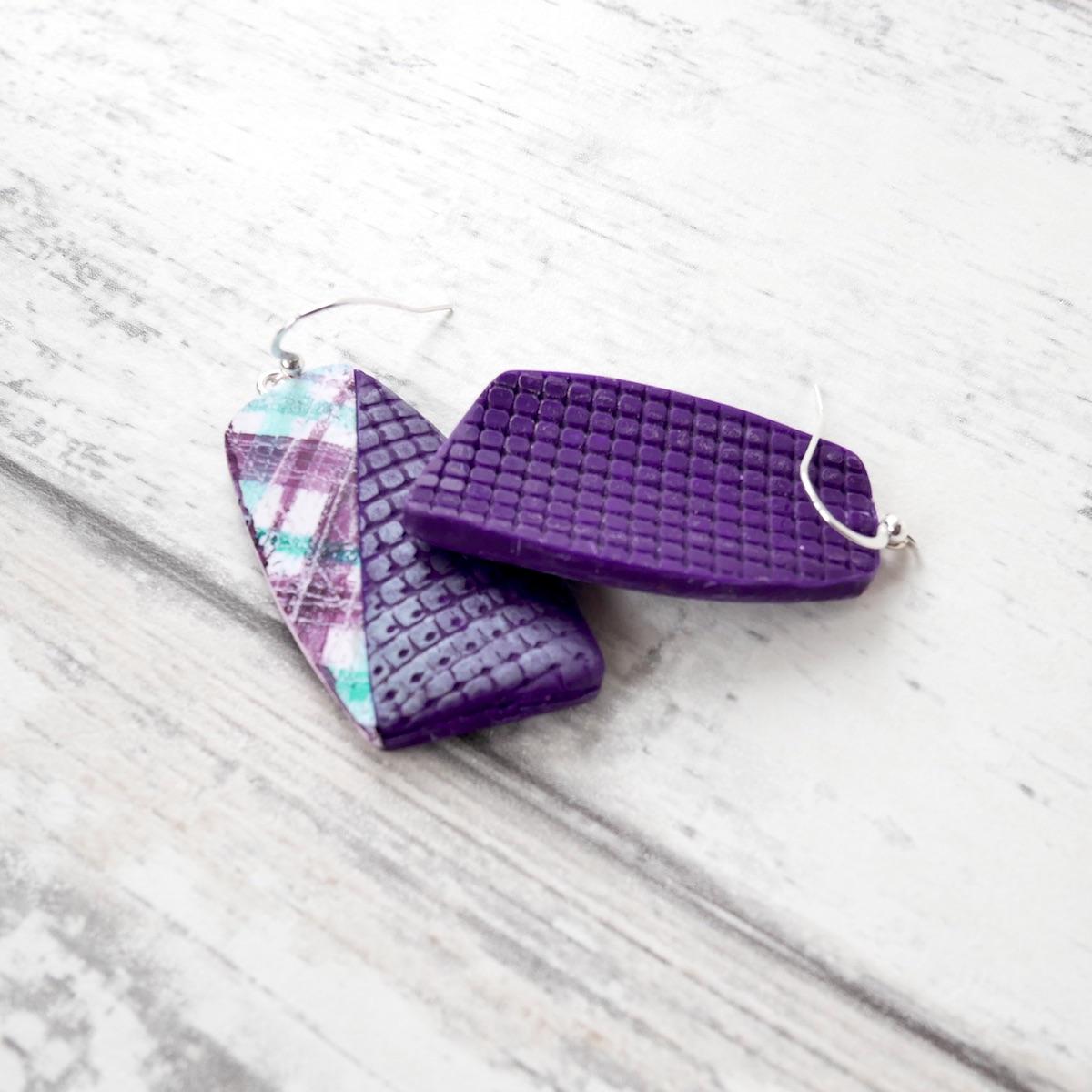 Tartan Earrings,Purple and Blue