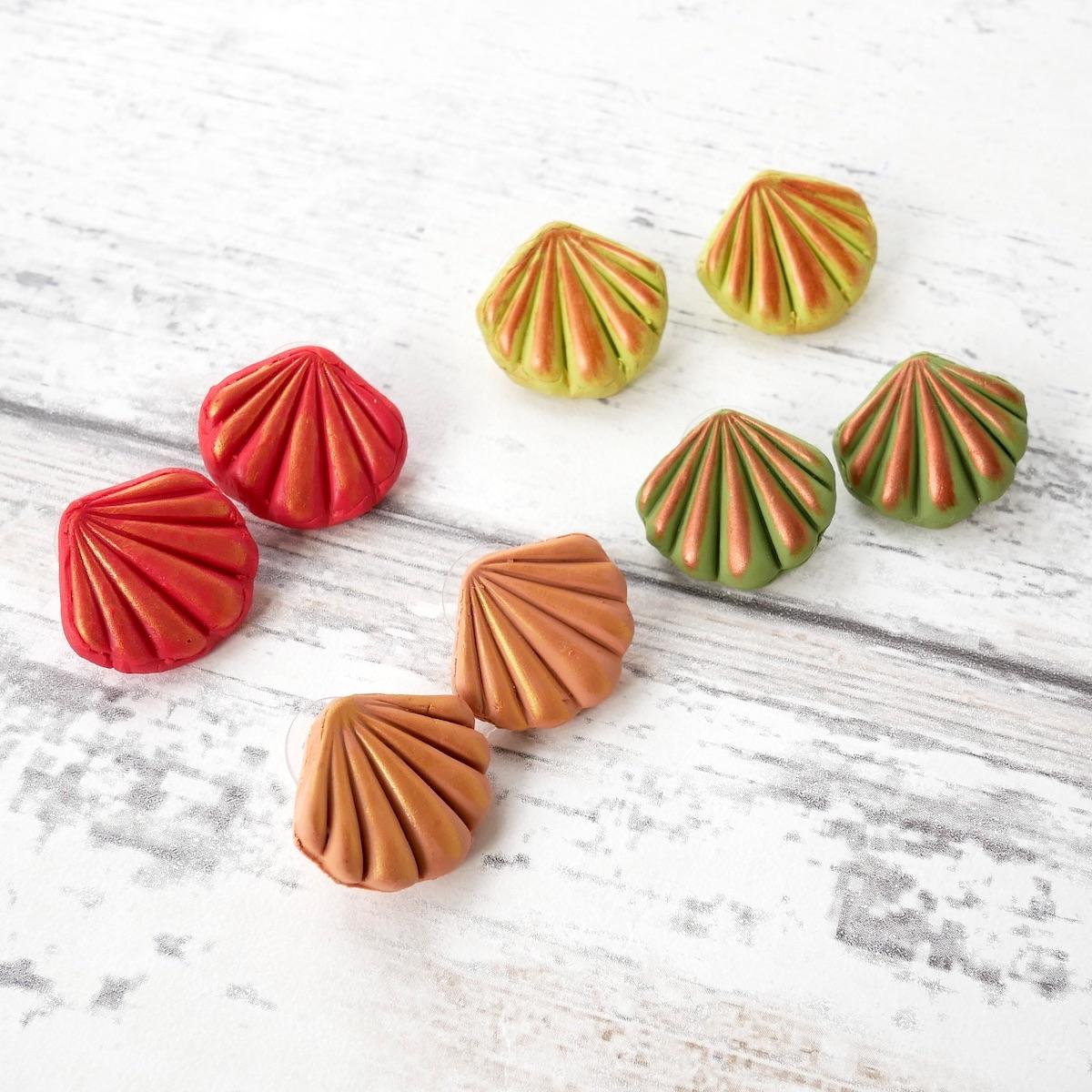 Shell Earrings, Autumn Colours
