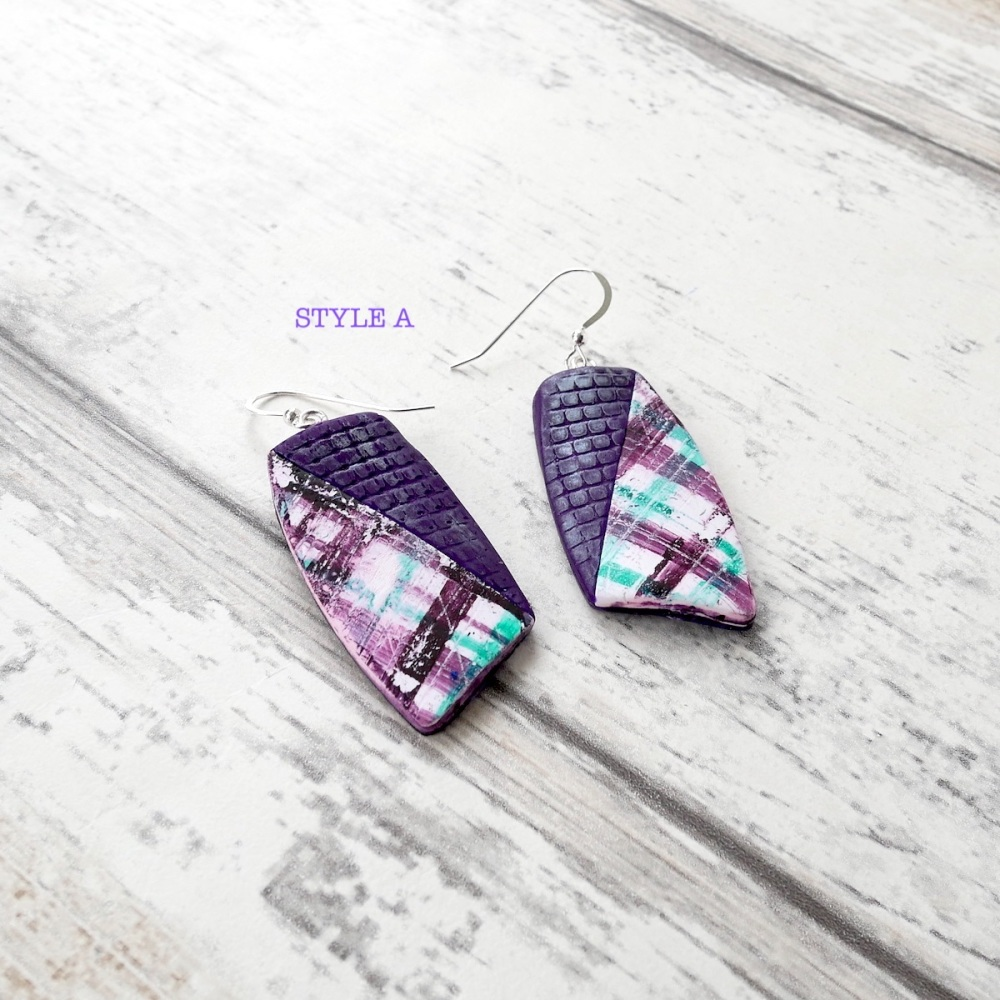 Purple and Blue Check Earrings-Style A