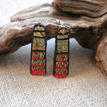 Fringe Earrings, Red, Green, Black and Cream
