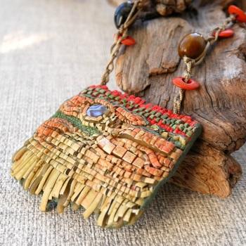 Boho Fringed Necklace, Polymer Clay Jewellery