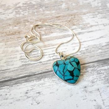 Faux Turquoise Heart Necklace, Blue Heart Pendant