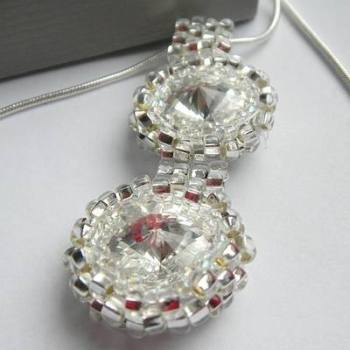 Swarovski Rivoli Crystal Necklace, Double Rivoli Pendant