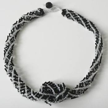 Monochrome Necklace  Bugle & Seed Bead Necklace