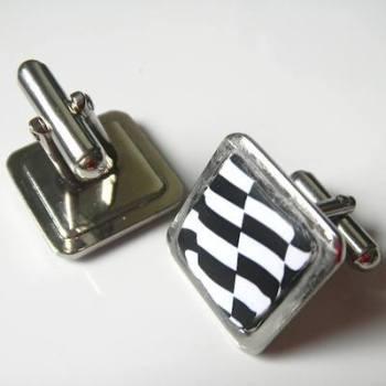 Mod Cufflinks Gift Two Tone Ska Design Black and White